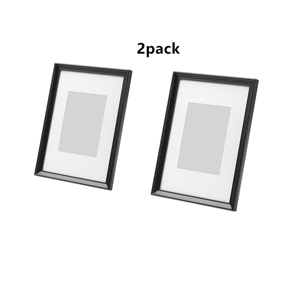 KNOPPANG 2 Pack Frame Made To Display Pictures 5x7 Inch With Mat Or (International Standard A4 Size Pictures)8 1/4 x11 3/4 Inch Without Mat Black Picture Frame