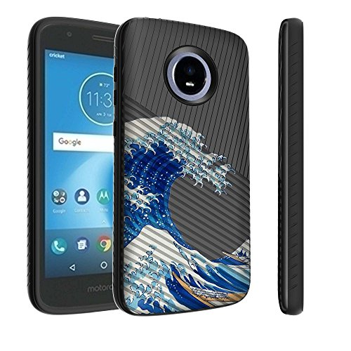 Untouchble Case for Motorola Moto E5 Cruise Case, Moto E5 Play Case [Stripe Force] Textured Lines Cover Hard Plastic Case Shell Inner TPU Skin Protection- Blue Ocean Waves
