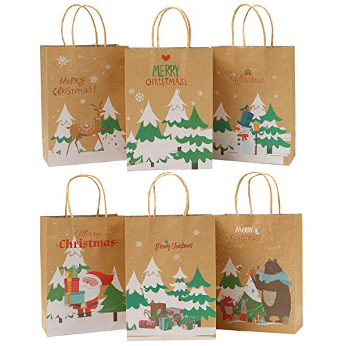 - Elcoho 24 Pieces Christmas Paper Bags Holiday Kraft Bag Shopping Bags Party Bags with Handle for Christmas Decorations