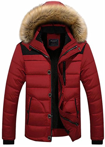 up Faux Solid Parka Jacket UK Zipper Hood Casual Thicken Fur Red today Mens FTnXq0wFx6