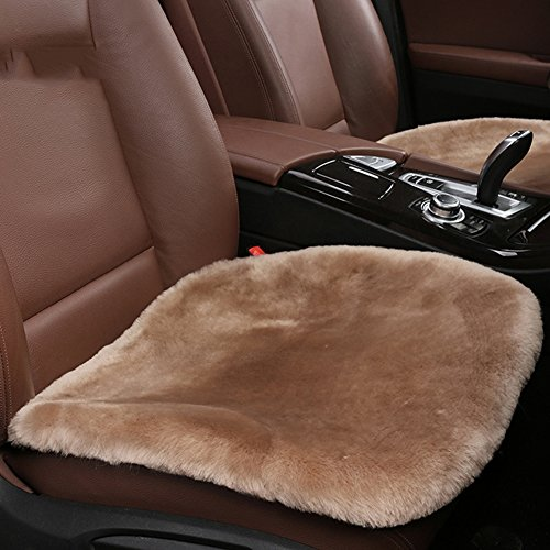 Sheepskin Seat Cushion - Authentic Sheepskin Car Interior Seat Cover, U&M Soft Luxurious Wool Seat Cushion Pad Winter Mat Universal Fit for Comfort in Auto, Plane, Office, or Home(19.3 Inch X 19.3 Inch)