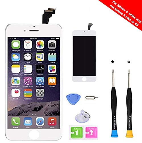- Premium Screen Replacement Compatible with iPhone 6 4.7 inch Full Assembly -LCD Touch Digitizer Display Glass Assembly with Tools, Fit Compatible with iPhone 6 (White)
