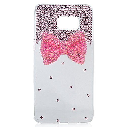 Evtech (tm) Caja del teléfono celular Transparencia Contraportada Rosa Diamante Decoración del Bowknot del Rhinestone del diamante de Bling Bling del brillo Fashion Style para Samsung Galaxy S6 Edge P