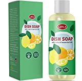 Natural Dish Soap for Hands Non Toxic Dishwashing Liquid and Hand Soap for Kitchen Dishes Sulfate Free Antibacterial Sanitizer with Aromatherapy Pure Essential Oils Lemon Orange Aloe Vera Vitamin E