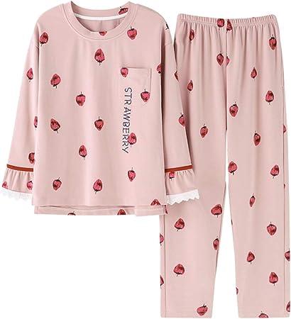 ShenZuYangShop Pijamas Camisones niña Rosa Pijama Dulce Lindo de Manga Larga Servicio a Domicilio algodón Cuello Redondo suéter Estudiante otoño cómodo camisón Casual (Color : Pink, Size : SG): Amazon.es: Hogar