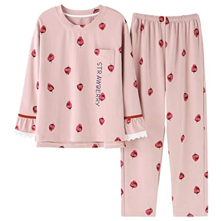 67d227cf1e ShenZuYangShop Pajamas nightclothes pink girl cute sweet pajamas long-sleeved  home service cotton round neck