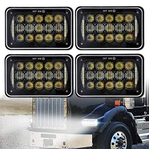 COWONE 60W Cree 4X6 inch Rectangular LED Headlights for H4651 H4652 H4656 H4666 H6545 Freightliner Kenworth Peterbilt International Volvo Sterling Western Star Mack(4Pcs) ()