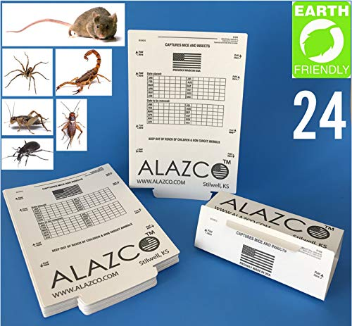ALAZCO 24 Glue Traps - Excellent Quality Glue Boards Mouse Trap Bugs Insects Spiders Crickets Cockroaches Mice Trapper & Monitor Non-Toxic Made in USA