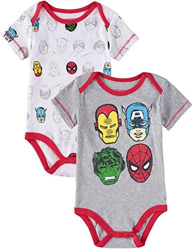 The Avengers Marvel Baby Boys' Avengers 2-Pack Short Sleeve Bodysuit Set, 0-3 Months]()