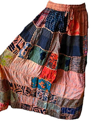 Falda Maxi hippie tribal de la falda del vientre del vientre Banjara NUEVO PATCHWORK P129