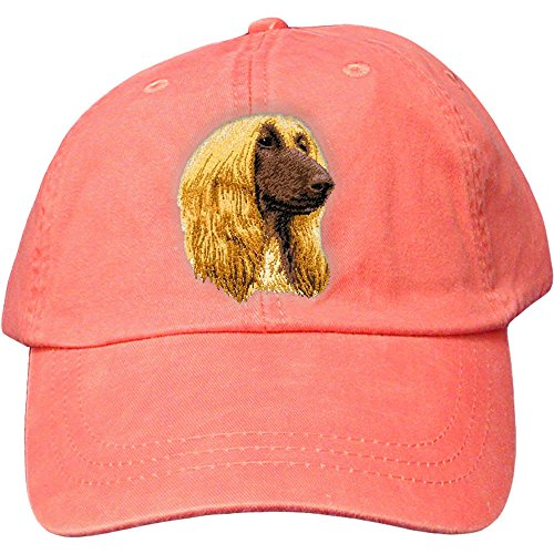 Cherrybrook Dog Breed Embroidered Adams Cotton Twill Caps - Coral - Afghan Hound