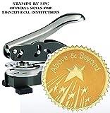 Embosser Bundle // Custom Embosser (Seal) & Premium Gold Foil Embossing Certificate Labels // ''Above And Beyond''; Impression: 1-5/8 [SPC2CS] // Employee/Student Recognition At Work/School