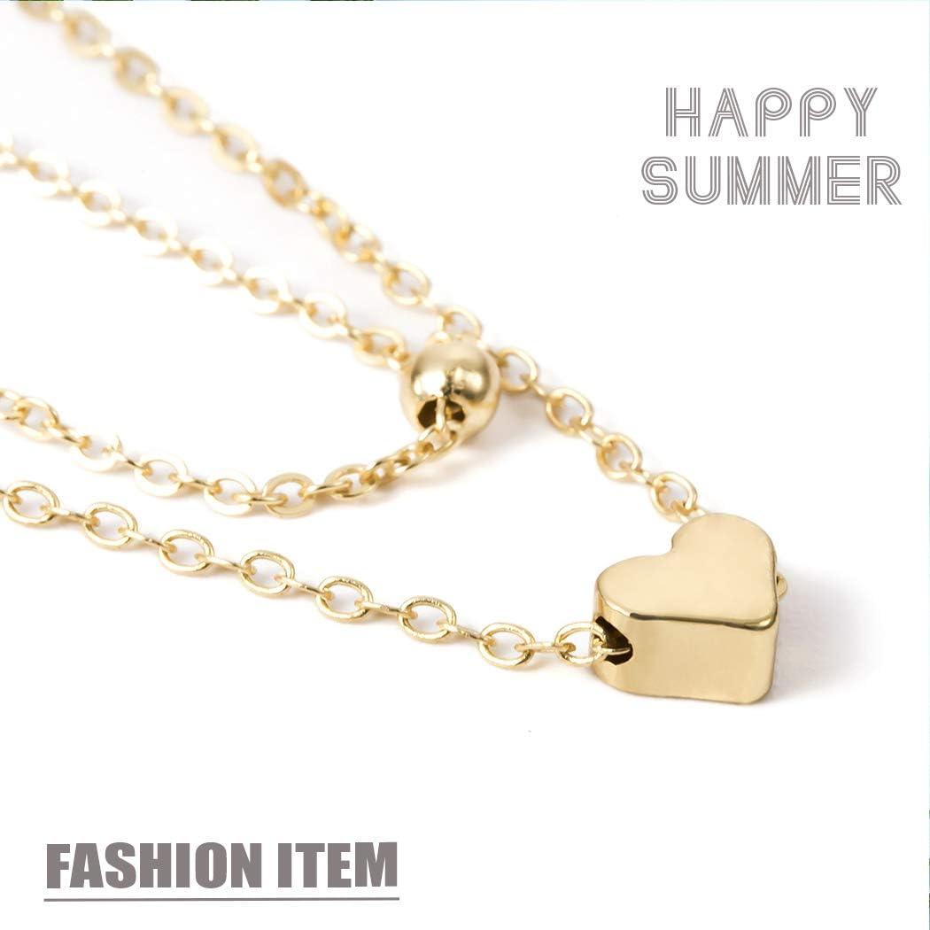 Mayelia Boho Tobilleras de oro con capas de oro Love Tobilleras de playa para mujeres y ni/ñas