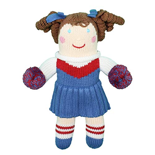 Zubels Baby Girls' Hand-Knit Cheerleader Doll, All-Natural Fibers, Eco-Friendly, 12-Inch, Red & Royal ()