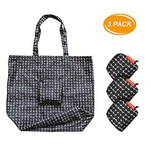 Bellotte Fashion Super Light Weight Reusable Folding Shopping Bag Travel Bag Grocery Bags Shopper Tote 3 Pack (Black dot)