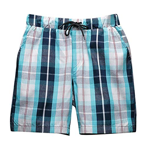 (Seaintheson Men's Beach Shorts,Casual Loose Sport Swim Shorts Plaid Slim Shorts Pants Green)