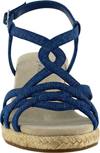 Easy Street Kvinna Ryanne Espadrille Wedge Sandal Blå Metallic
