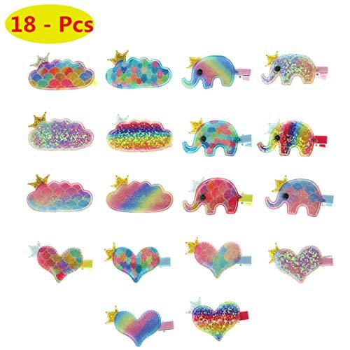 18pcs Cute Baby Girls Glitter Hair Clips Cartoon Elephant Heart Clouds Hair Clips Rainbow Iridescent Hairpins for Girl Teens Kids Babies Infant Newborn Toddlers