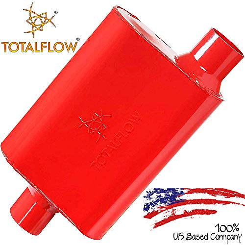 """TOTALFLOW Red 3"""" 3"""" 15042 Two-Chamber Universal Muffler 3"""" Center in / 3"""" Offset Out"""