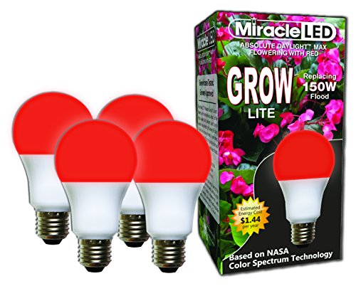 Miracle LED Absolute Daylight MAX Flowering Red LED Grow Lite - Replaces up to 150W - For Intense Flowering and Fruiting of your Indoor Plants and DIY Horticulture & Hydroponic Gardens (604278) 4 Pack by MiracleLED