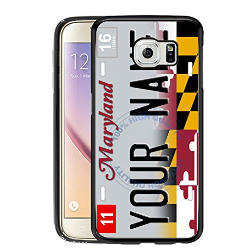 BleuReign(TM) Personalized Custom Name 2017 Maryland State License Plate TPU Rubber Silicone Phone Case Back Cover for Samsung Galaxy - Handle Vanity Raven