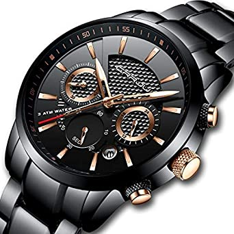 ca1731c55c84 CRRJU Mens Stainless Steel Watches Date Casual Wrist Watch with Black Dial