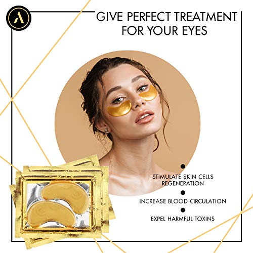 514EwuHYbaL - ALLUREY 24K Gold Collagen Eye Mask, Best Eye Care, Anti-aging and Anti-wrinkle Effect, Moisturizes, Reduces Puffiness and Dark Circles, Under Eye Patches (15 Pairs)