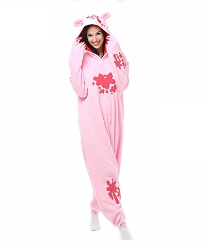 HYY@ Kigurumi Pajamas Cosplay / Bear / Raccoon Leotard/Onesie Halloween Animal Sleepwear Pink