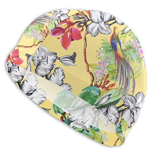 (Smany Garden Flowers and Pheasant Birds (2) Adult Swim Caps,High Elasticity, No Deformation Use,UV Protection, Waterproof Comfy Swimming Bathing Cap for Men and Women)