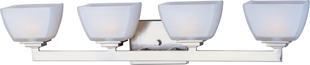 Maxim 9034SWSN Angle 4-Light Bath Vanity, Satin Nickel Finish, Satin White Glass, G9 Frost Xenon Xenon Bulb , 100W Max., Wet Safety Rating, 2700K Color Temp, Standard Dimmable, Glass Shade Material, 1150 Rated Lumens