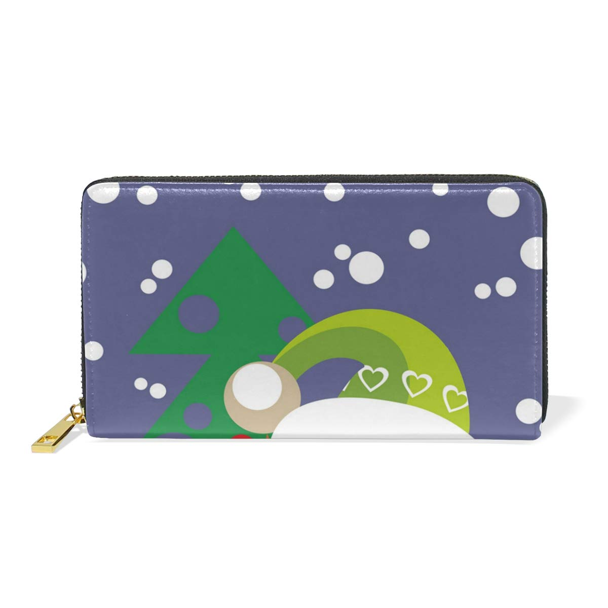 Artificial Christmas Tree Snowman Real Leather Zip Around Wallet Wristlet minimalist wallet Travel Purse Wristlet