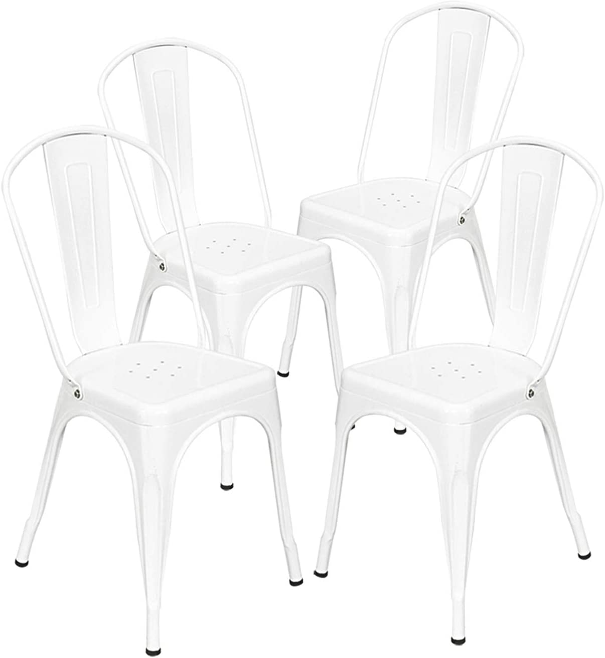 4pcs Industrial Style Iron Sheet Chair White Dining Chair Indoor-Outdoor Industrial Vintage Chairs Bistro Kitchen Cafe Chair