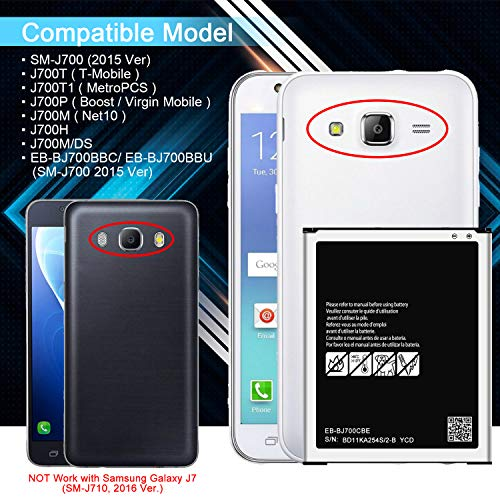 Galaxy J7 Battery, 3000mAh Replacment Battery for Samsung Galaxy J700P(Boost/Virgin Mobile), J700M(Net10), J700F, J700T(T-Mobile), J700M/DS Battery EB-BJ700CBE