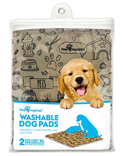Washable Puppy Pads - Paw Inspired 2ct XL Extra Large Washable Pee Pads for Dogs, Puppy Training Pads, Waterproof Whelping Pads, Reusable Dog Pads