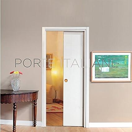 Porta Porte Scorrevole Scomparsa Interno Muro Da 70x210 Bianca Con Serratura