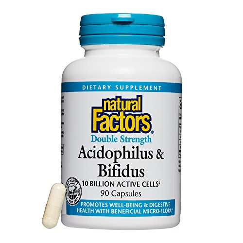 Natural Factors, Acidophilus & Bifidus Double Strength, Supports Digestive Health and Microflora Balance, Probiotic Supplement, 10 Billion CFU, 90 capsules (90 servings)