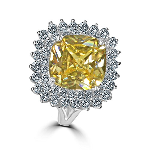 Diamond Veneer - 7 CT. (11x11mm) Square Cushion Radiant Center w/double Halo Pave Electro-Plate Ring (Canary, 5)