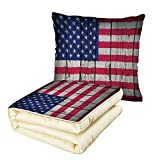 iPrint Quilt Dual-Use Pillow Rustic Decor American USA Flag Fourth of July Independence Day Grunge Art Aged Wooden Wall Looking Art Decorative Multifunctional Air-Conditioning Quilt