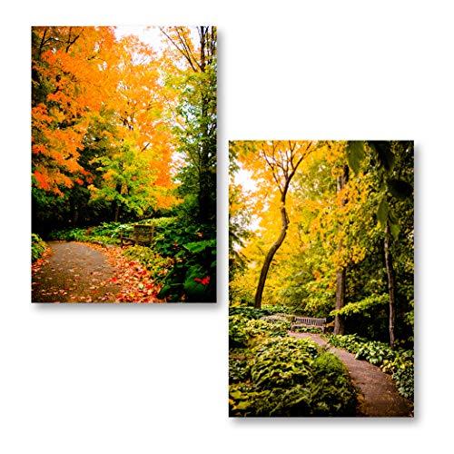Gango Home Decor Autumn Pathway| Gorgeous Fall Foliage Green Yellow Orange Leaves Photograph Prints; Two 18x12in Poster Prints