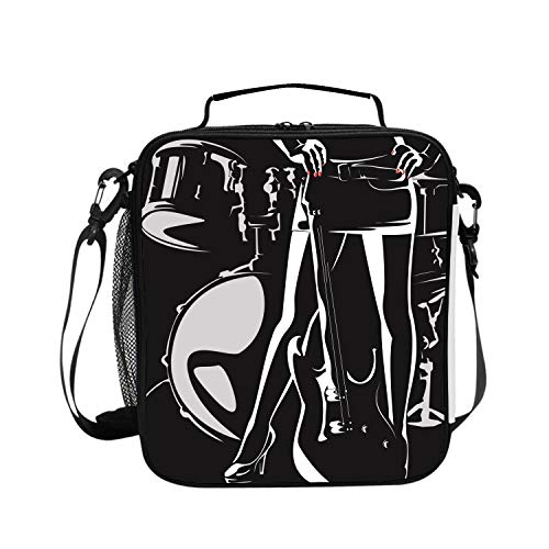 (Insulated Lunch Bag Drums Silhouette Vector Material Lunchbox Waterproof Cooler Warm Bags Reusable Tote Box)