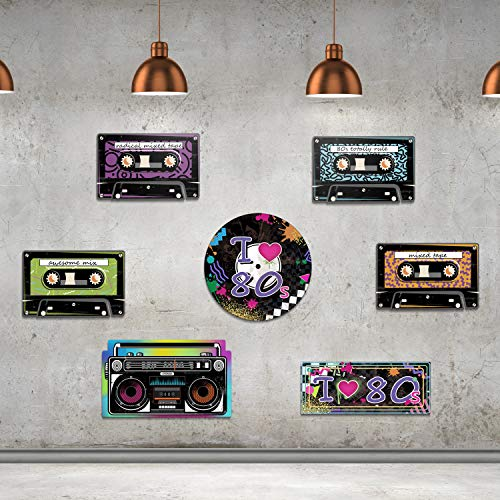 80's Party Supplies, 24 Pieces Cassette Tape Cutouts with 7 Different 80's Style, 1980s Party Decorations 80's Theme Party Hanging Cards Decorating Kit Retro Design with 2 Ropes and 40 ()