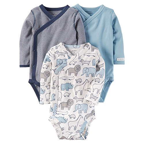 Carter's Baby Boys' 3-Pack Striped Side Snap Bodysuits 3 Months (Baby Three Pack Bodysuits)