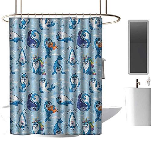Qenuan Shower Curtain Hooks Sea Animals,Seal Pup Cartoon Aquatic Wildlife Friendly Hugging Water Bubbles Kids, Blue White Marigold,Curtain for Bathroom & Toilet 54