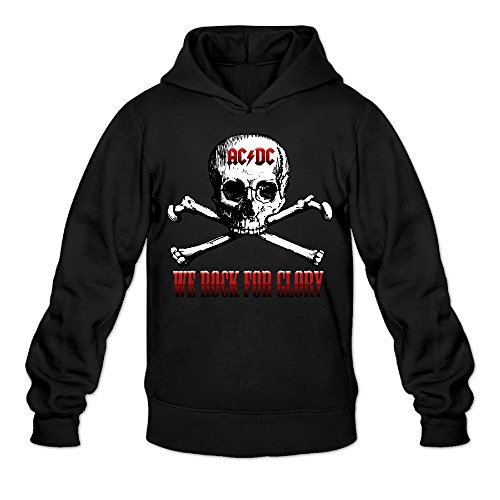 Angus Young Costume Women (CYANY AC/DC Australian Rock Heavy Metal Band Skull Women's Funny Hoodies Sweater LBlack)
