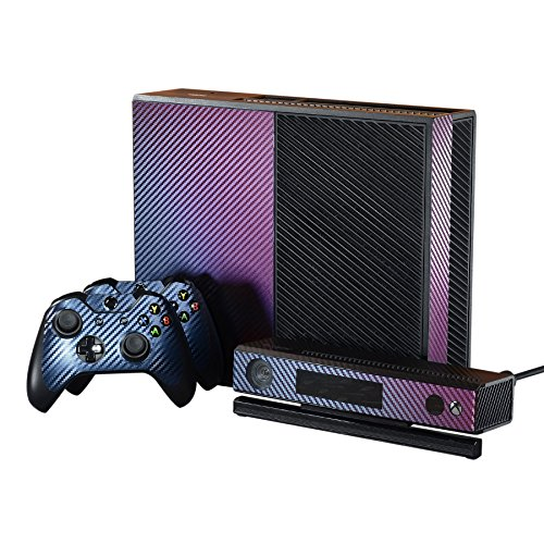 eXtremeRate Purple and Blue Chameleon Full Faceplates Personalized Skin Decal Wraps Covers with Power Button Decals for Microsoft Xbox One Console Controller Kinect