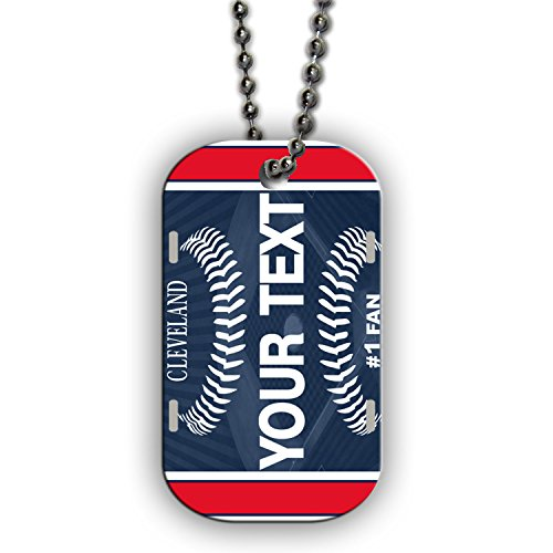 BleuReign(TM) Personalized Custom Name Baseball Cleveland License Plate Single Sided Metal Military ID Dog Tag with Beaded Chain