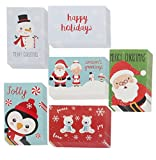 Assorted Holiday Christmas Greeting Cards - Festive Classic Character Designs: Penguin, Snowman, Santa, Polar Bears, Snowflakes - Multicolor - 48 Pack with Envelopes - 4 x 6 Inches