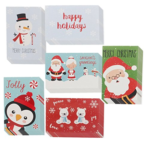 Happy Holiday Greeting Cards - 48 Pack Assorted Greeting Christmas Cards in 6 with Envelopes Included 4 x 6 Inches by Juvale