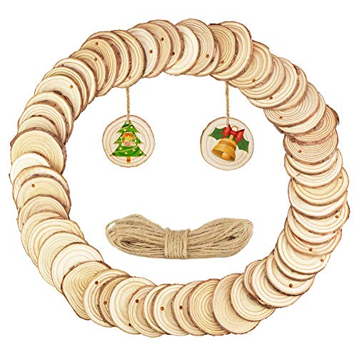 Small Natural Wood Slices 60 Pcs 1.9-2.4 with Holes for Crafts Ornaments Christmas Ornaments and Home Hanging (60pcs)