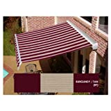AWNTECH 10 ft. Destin Motorized Retractable Awning in Burgundy & Tan Stripe (Left Side Motor)